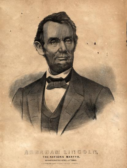 Black and white print of Abraham Lincoln with a beard and a bow tie
