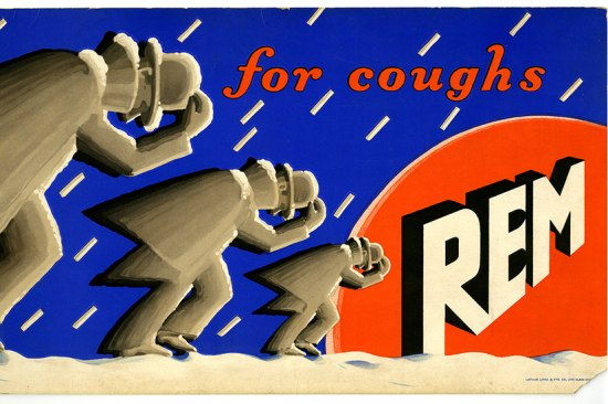 "A poster for REM cough syrup. Three men in grey bend over with their hands on their hats, appearing to struggle through the rain. It says ""for coughs"" in the upper righthand corner and ""REM"" on the right side in white with an orange background"