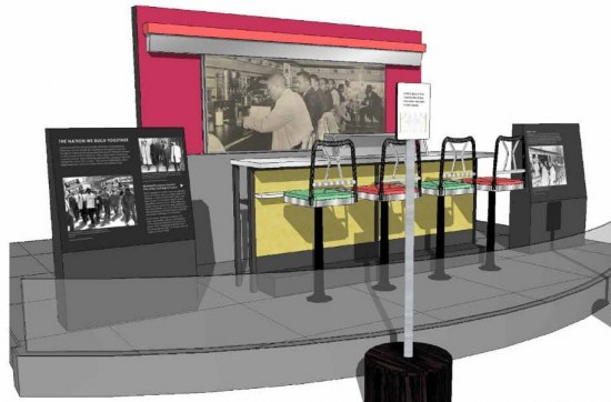 An illustrated model of what a portion of a museum exhibition will look like, centered around a lunch counter with four seats. There are images and signs in and outside a low glass wall.