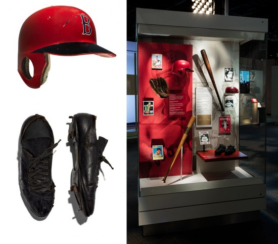 """Collage of photographs of objects and displays from the exhibition """"Many Voices, One Nation."""" Top left: Carl Yastrzemski's red baseball helmet; Bottom Left Jimmie Crutchfield's black baseball cleats; Right: The """"Sports"""" case in the exhibition, with the two objects in display."""