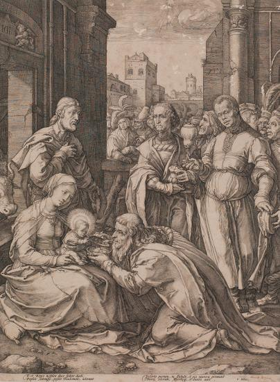 Illustration of Magi kneeling to see Christ child in Mary's lap