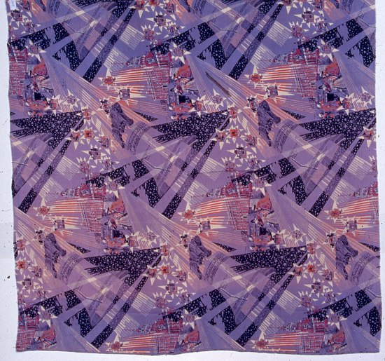 Purple fabric with geometric streaks of lavender, violet, pink, and white. Vignettes include figures, churches/grand buildings, etc.
