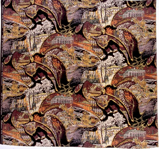 Fabric with vignettes, including Mt. Vernon, Washington as a leader, trees. Dark maroon-brown colors, light yellow, orange, and black swirl-like shapes.