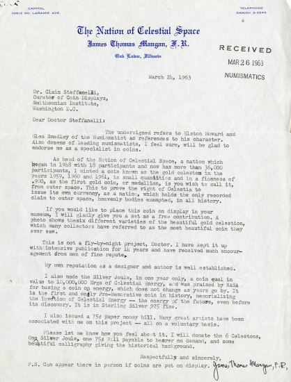 "An official-looking letter typed on off-white paper. In fancy blue script, the header says ""The Nation of Celestial Space."""