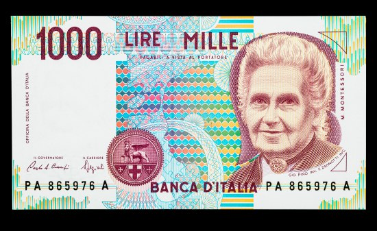 "Bill with portrait of woman, a necklace with a circle-shaped charm around her neck. Pattern in background shows child's portrait. ""Banca D'Italia."" ""1000 Lire Mille."""