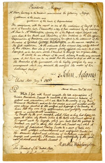 A single page with two handwritten messages. At the top of the page, John Adams writes: Presidents Message