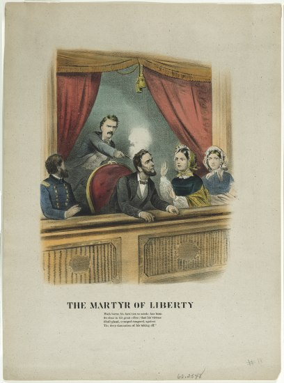 Color illustration of Lincoln's assassination in theater booth.