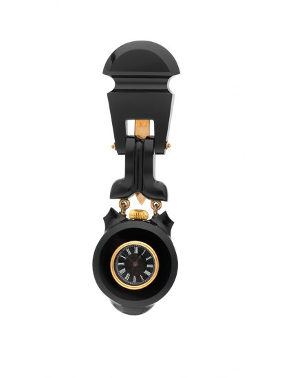 Black onyx and gold lapel watch.