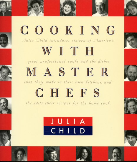 Cover of cookbook in red and yellow with black and white photos of chefs around cover