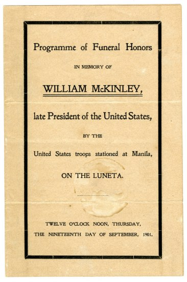 Printed booklet entitled: Programme of Funeral Honors in Memory of William McKinley