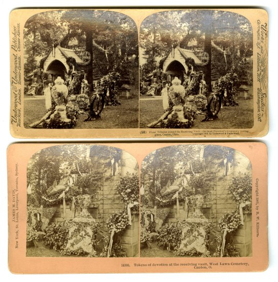 Stereograph images showing floral wreaths and ribbons decorating an outdoor space.