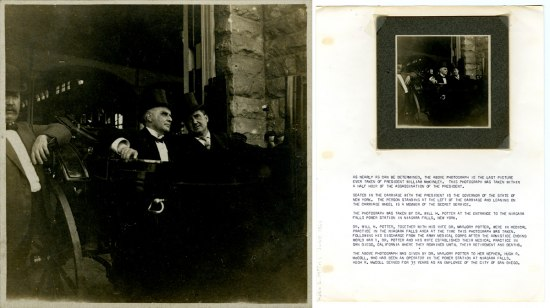 Collage of two images. Left: McKinley sits in the center of the frame in a carriage wearing a hat and suit. A similarly dressed man accompanies him. A third man wearing a a bowler hat leans against the carriage. Right: The previous photograph is mounted o