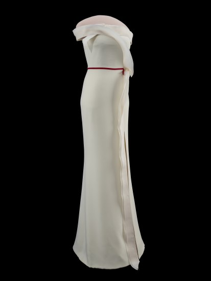Same photo as above except showing a side view of the gown.