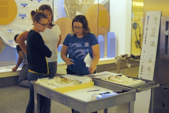 Three women stand beside two gray carts. On the carts, glass objects. They are speaking, looking at the objects. In the background, a display in progress in yellows and blues with tape marking object locations.