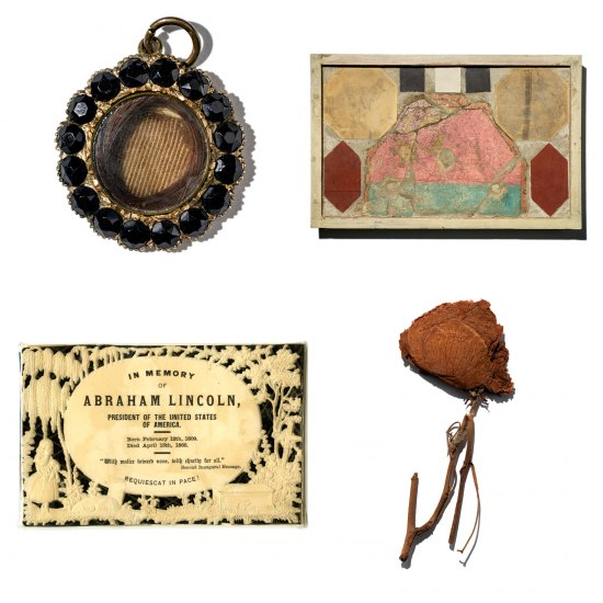 Collage of four objects tied to mourning in the musuem's colllctions.