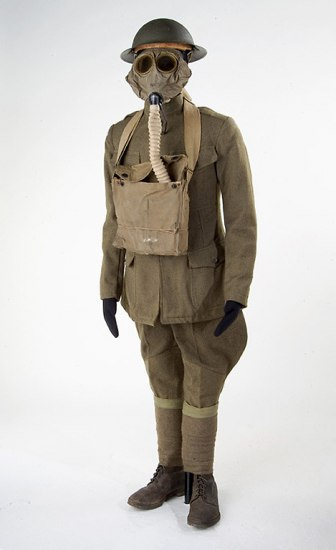 Doughboy uniform from World War I with helmet and gas mask