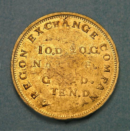 Gold coin with text