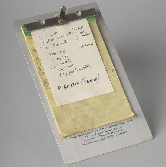 Photo of recipe on clipboard
