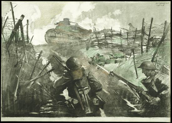 Illustration in black, gray, brown, and dark green. two soldiers in military helmets crouch on low ground as a tank approaches above. Two other soldiers are visible. Barbed wire and foliage frame the scene.