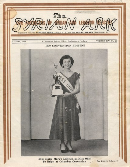 "A young woman stand with a dress and ""Miss Ohio"" sash, carrying a trophy on the cover of a magazine or pamphlet"