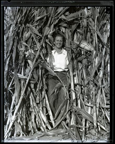 Black and white photo of a woman among tall corn stalks, smiling