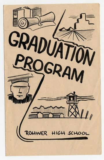 "Illustrated cover of program in blocky, cartoon-y style. ""Rohwer High School Graduation Program"""