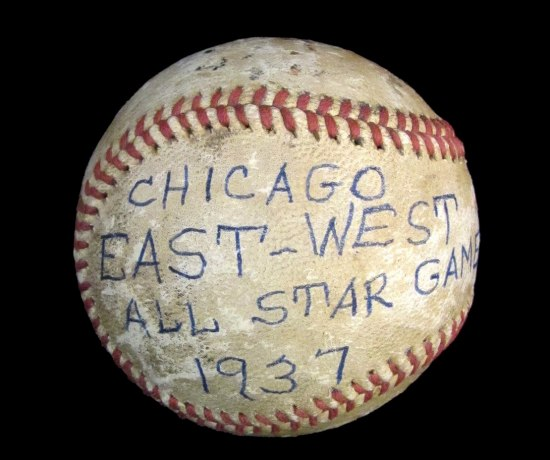 "Photo of baseball. Handwriting on ball says ""Chicago East-West All Star Game 1937"""