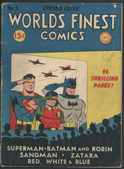 Illustrated comic book cover with three planes and Superman, Batman, Robin saluting and smiling.