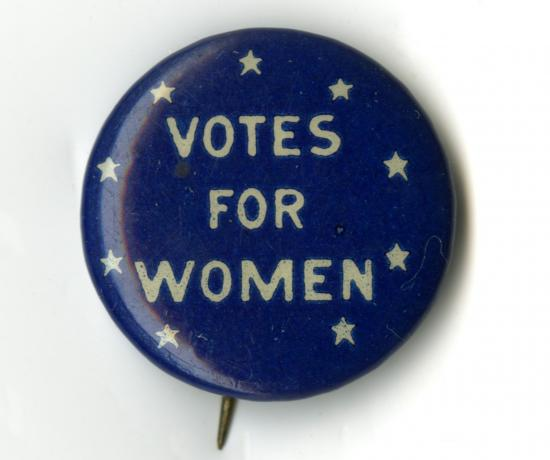 "Blue button with text ""Votes from Women"" with stars"