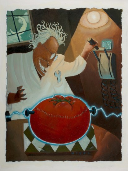 "An oil painting, entitled ""Mad Scientist And The Bionic Tomato Painting."" In the background, a cartoon scientist with frenzied hair in a white lab coat pulls a switch. In the foreground, a basketball-sized tomato with stitches and metal bolts is struck by a current of electricity"
