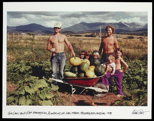 Two adult men and five small children pose for a color photo in a field with lots of pumpkins