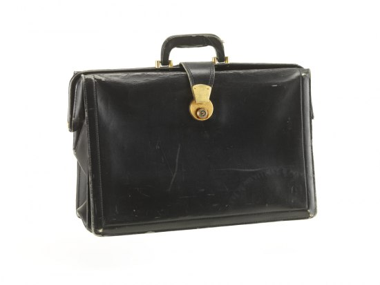 A black leather briefcase with a gold buckle.