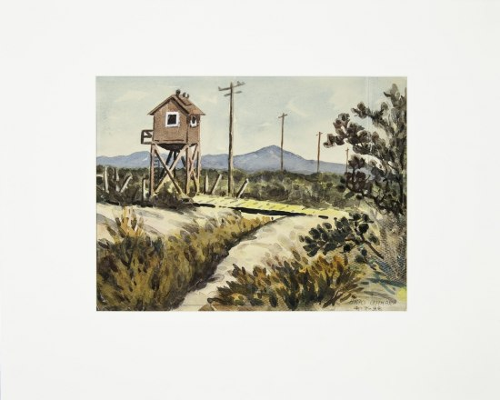 Painting in greens, grays, browns, and whites. A wooden guard tower (like a small house raised on stilts) stands to the left of the image, with rolling grassland in front and mountains behind.