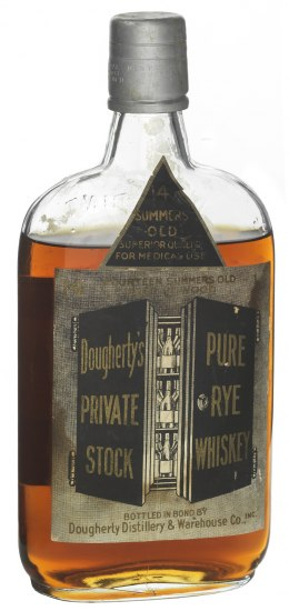 "Glass bottle with short neck. Label text: ""Dougherty's Pure Private Rye Stock Whiskey."""