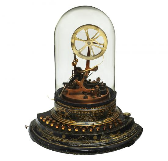 Thomas Edison's 1873 model of an improved stock ticker for the Gold & Stock Telegraph Company. Patent models, which were included in the application process at Thomas Jefferson's insistence, are no longer required.