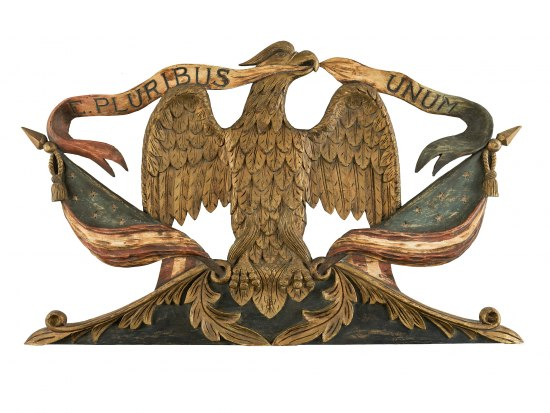 Wooden eagle carved and painted in wood.