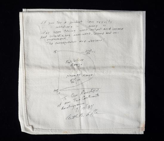 Photo of napkin with handwritten text on it