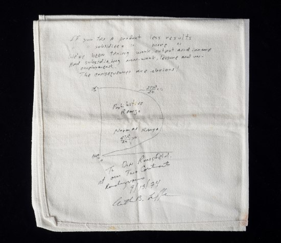 A folded white cloth napkin, with a sketch and note on it in thin black ink--the type from a ballpoint pen.