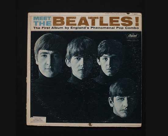 Record album with black and white photo of the Beatles