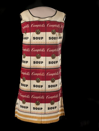 Photo of a dress with a pattern of Campbell's soup labels in white and red