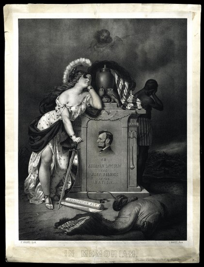 "Black and white illustration of Lincoln's headstone. At his feet, a mythical beast lays half dead, near a scroll that says ""Emancipation Act."" A figure of Liberty(?) covers her eyes, leaning against it. A figure with dark skin holds his hand to his face. Owls and an American flag on top."