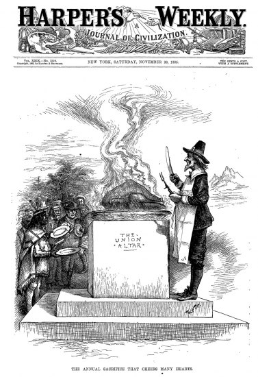"""Cartoon shows a long line of individuals from from of various races, ethnicities, and  cultural backgrounds holding plates and lined up before an altar chiseled with the words """"The Union Altar."""" Uncle Sam, wearing the garb of a Pilgrim and apron, stands ready to cut and serve the steaming turkey that sits atop the altar."""