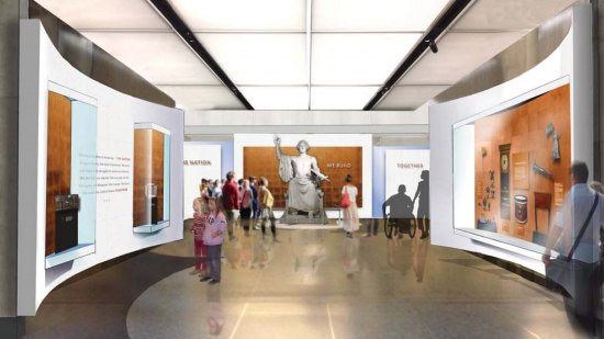 Illustrated rendering of a large space with panels on walls with graphics. In center/back of room, statue of George Washington wearing a toga.