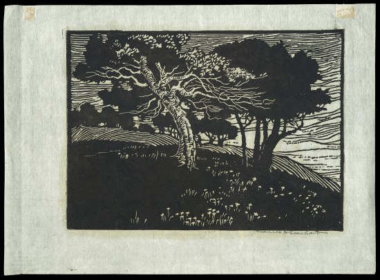 Black and white block print with trees.