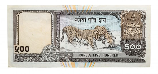 A portion of a piece of paper currency. A pair of tigers frolic in a stream. There is text above and below them within an ornate order. The paper is cream-colored with blue and orange stripes. There are decorations with numbers.