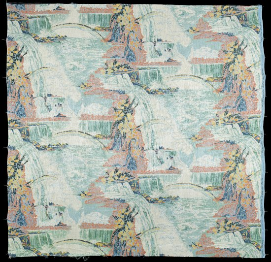 A repeating silk pattern depicting Niagra Falls. The falls are a soft turquoise in color and a small rainbow hangs over the water basin below. Orange rocks with yellow flowers border the falling water