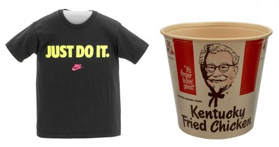 "Examples of trademarks from the museum's collections: Nike's ""Just Do It"" and the swoosh are both trademarked; so is Kentucky Fried Chicken's Colonel Sanders."