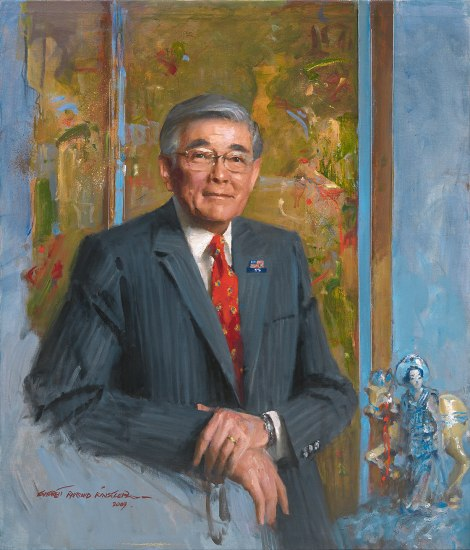 Painting of man wearing suit, tie, and glasses. He smiles and looks at viewer.