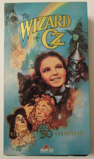 Cover of VHS tape with characters faces' from Oz and rainbow