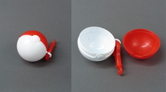 Two photos of a small toy. It is shaped like a red and white Pokeball and is hollow inside. Its halves seem to snap together. It has an attachment on the side from which you could hang the toy on a belt loop, etc.
